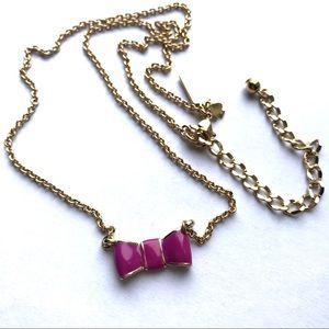 Like new! Kate Spade purple enamel bow necklace
